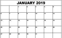 Get Free January 2019 Editable Calendar Template Download