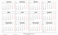 Get Yearly Calendar 2019 Template With Sa Holidays Download