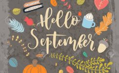 Hand Drawn Grange Vector Card Hello September Hello Autumn