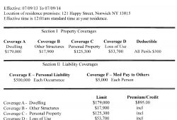 Homeowners Declaration Page Sample
