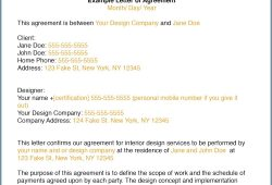 Interior Design Letter Of Agreement