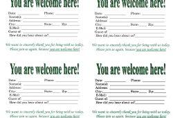 Church Visitor Card Template