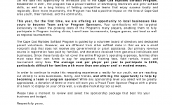 Image Result For Sample Softball Sponsor Request Letter Donation