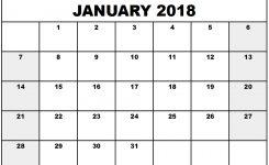 January 2018 Calendar Pdf Calendar Printable Free