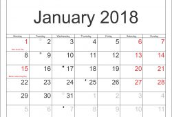 January 2018 Calendars With Canada Holidays