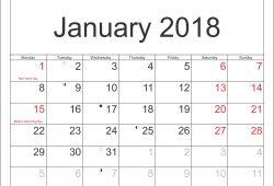 January 2018 Calendar With Holidays Uk