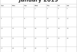 January 2019 Calendar Free