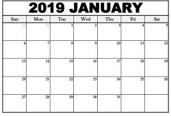 Free January 2019 Calendar