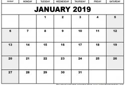 January 2019 Calendar In Excel