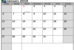 2019 January Calendar With Holidays South Africa