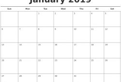 January 2019 Calendar Template Printable