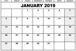 January Calendar 2019 In Pdf
