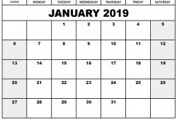 2019 January Calendar In Excel