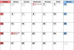 2020 January Calendar