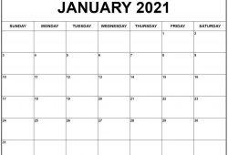 January 2021 Calendar Print out