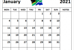 January 2021 Calendar South Africa