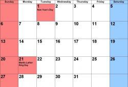 2019 January Calendar Holidays