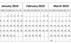 January February March 2019 Calendar In Pdf Word Excel Printable