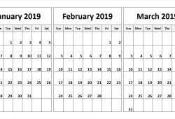 January To March 2019 Calendar