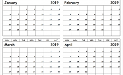 January February March April 2019 Calendar To Print All 12 Month
