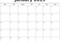 Free Printable Blank Monthly Calendar 2019