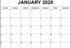 Calendar 2020 January Printable