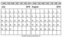 Jul Aug Calendar 2019