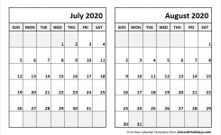 Jul Aug 2020 Calendar Template All 12 Month Calendar Printable