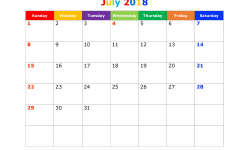 July 2018 Calendar Printable Template With Holidays Pdf Usa Uk July