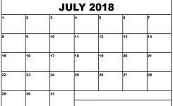 July 2018 Printable Calendar Monthly Calendar Template