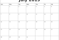 2019 July Calendar Printable