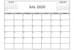 July 2020 Calendar To Print