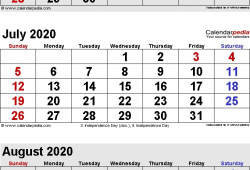 June July And August 2020 Calendar