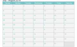 July And August 2018 Printable Calendar Icalendars