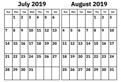 July To August 2019 Blank Calendar