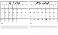 July August 2019 Calendar Printable Template Magic Calendar 2019