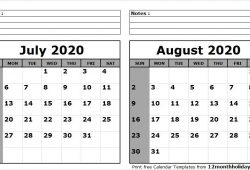 July And August 2020 Calendar