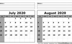 July August 2020 Calendar Printable 2018 Calendar 2021 Calendar