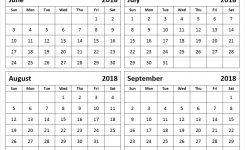 July August September 2018 Calendar Larissanaestrada