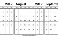 July August September 2019 Calendar Template 3 Month Printable