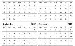 July August September October 2018 Calendar Blank Printable Template