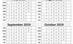 July October 2019 Blank Calendar October Month Calendar