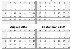 Jul Aug Sep 2019 Calendar Word