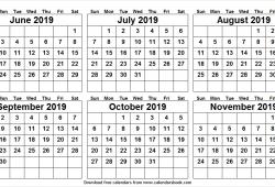 Jun Nov 2019 Template Calendar