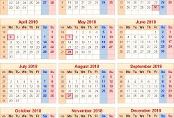 2018 Calendar With Uk Holidays