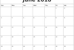 Printable June 2018 Calendar Fillable