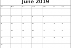2019 monthly calendar template printable