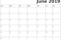 2019 March June Printable Calendar