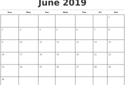 Printable   Calendar 2019 June Monday