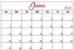 June 2021 Printable Calendar Editable